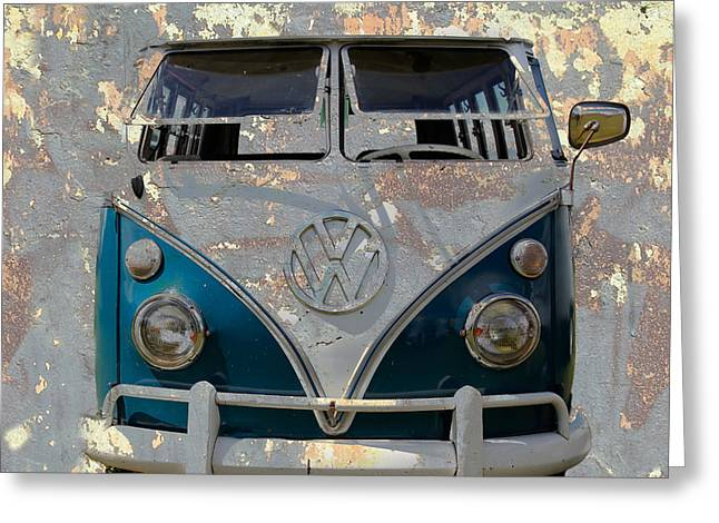 Rat Fink Greeting Cards - VW Safari Bus Greeting Card by Steve McKinzie