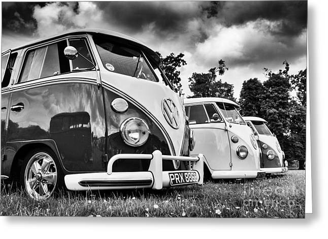 Tim Greeting Cards - VW Splitties Monochrome Greeting Card by Tim Gainey