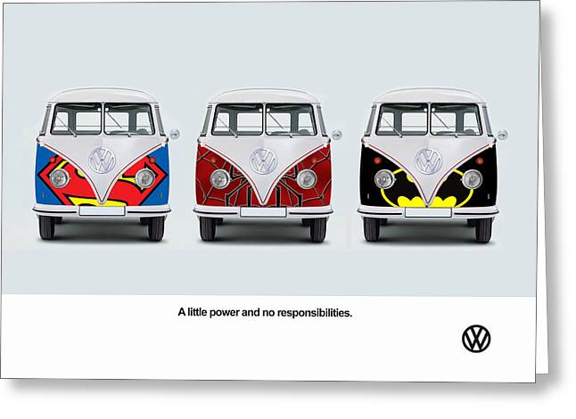Batman Greeting Cards - VW Superhero Greeting Card by Mark Rogan