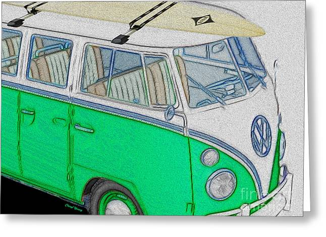 First Love Greeting Cards - Vw Surf Bus Greeting Card by Cheryl Young