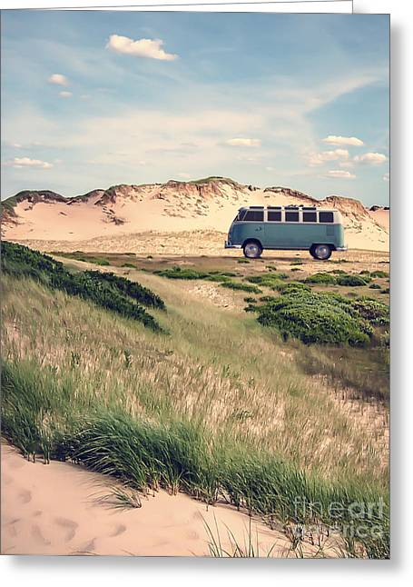 Parked Cars Greeting Cards - VW Surfer Bus out in the sand dunes Greeting Card by Edward Fielding