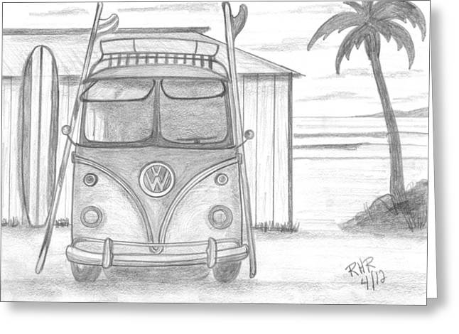 Shack Drawings Greeting Cards - VW Surfing Bus Greeting Card by Ray Ratzlaff