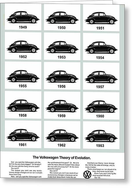 Volkswagen Beetle Greeting Cards - VW Theory of Evolution Greeting Card by Mark Rogan