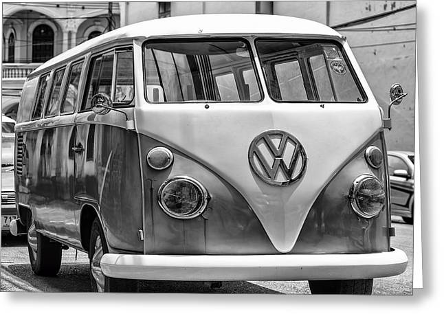 Antique Collectables Greeting Cards - VW Van in Black and White Greeting Card by Nomad Art And  Design