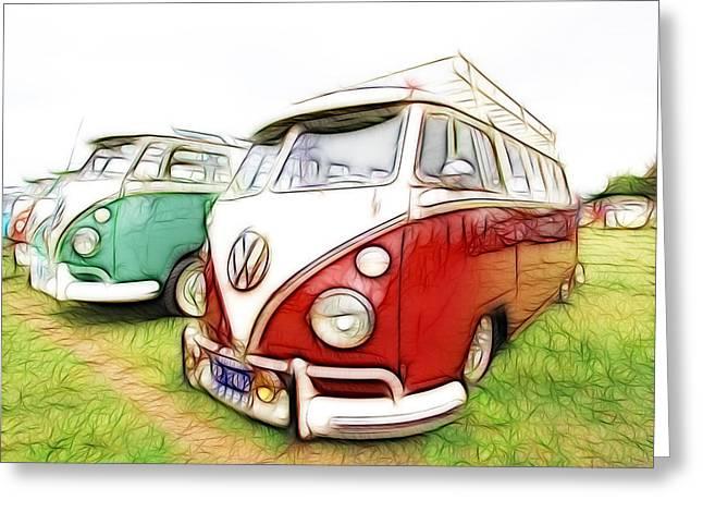 Rat Fink Greeting Cards - VW Vans Greeting Card by Steve McKinzie