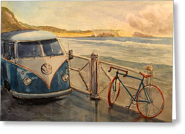 Volkswagen Greeting Cards - VW Westfalia surfer Greeting Card by Juan  Bosco