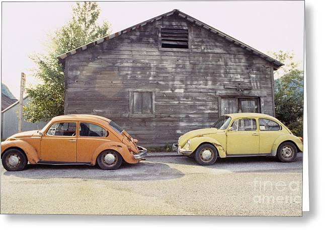 1960 Greeting Cards - VWs in Skagway Alaska Greeting Card by Bruce Stanfield