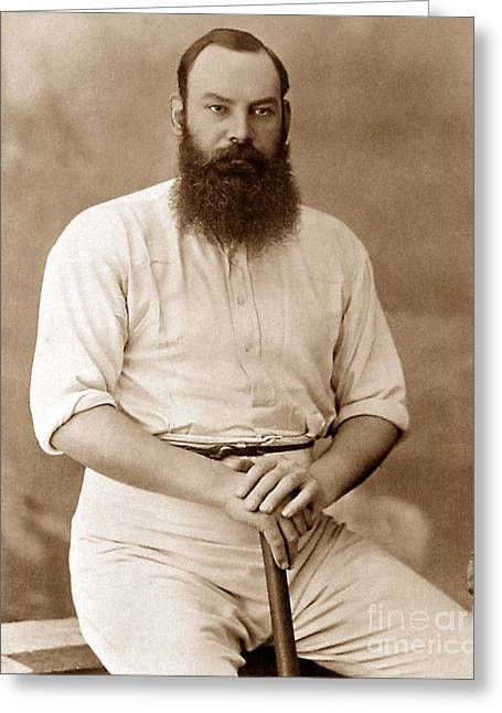Cricketers Greeting Cards - W G Grace England Cricketer Greeting Card by The Keasbury-Gordon Photograph Archive