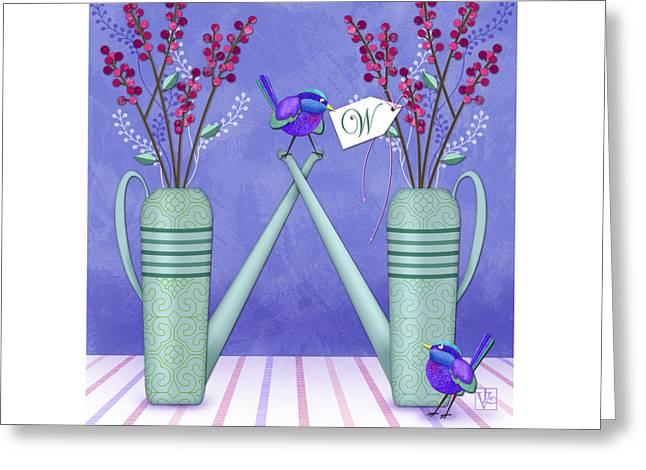 Illustrated Letter Greeting Cards - W is for Watering Cans and Wonderful Wrens Greeting Card by Valerie   Drake Lesiak