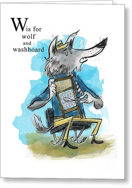 Animal Alphabet Greeting Cards - W is for Wolf Greeting Card by Sean Hagan