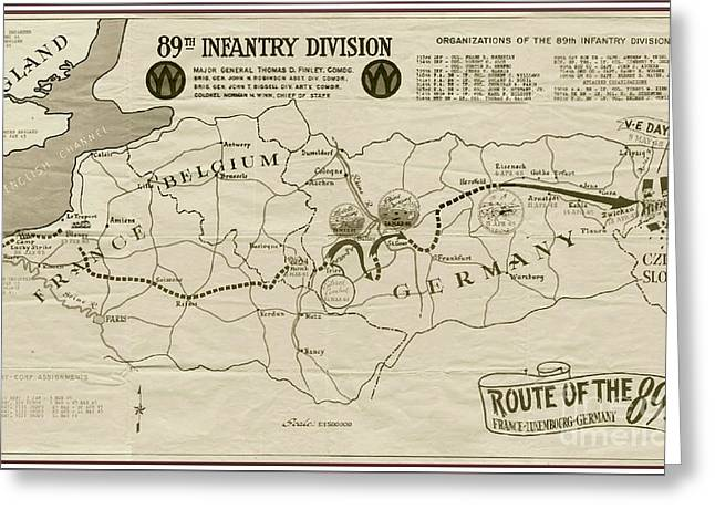 Europe Mixed Media Greeting Cards - W W I I 89th Division Map Greeting Card by Marilyn Smith