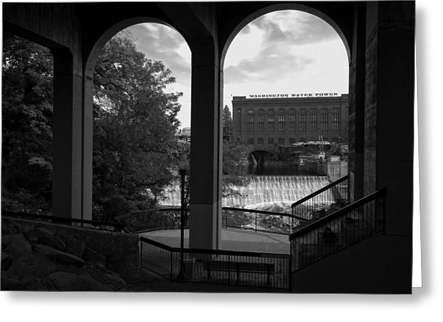 """spokane Falls"" Greeting Cards - W W P Power Substation B W Greeting Card by Daniel Hagerman"