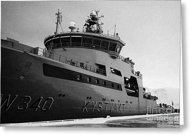 Norwegian Coast Greeting Cards - w340 kv barents sea norwegian coast guard kystvakt vessel Honningsvag finnmark  Greeting Card by Joe Fox