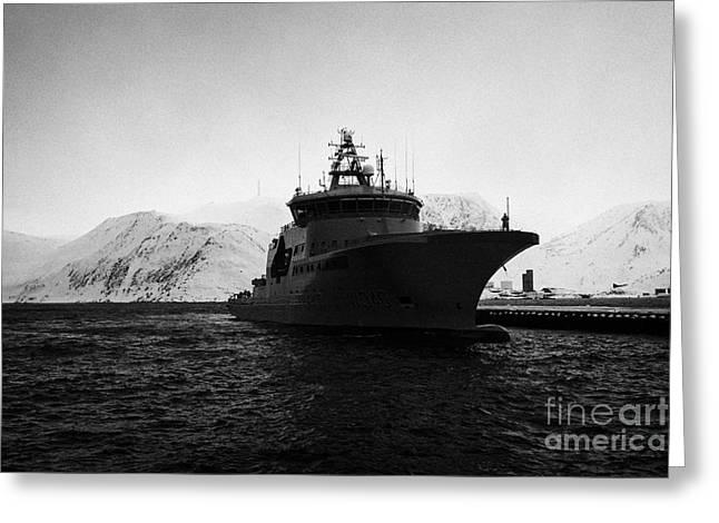 Norwegian Coast Greeting Cards - w340 kv barents sea norwegian coast guard kystvakt vessel Honningsvag finnmark norway europe Greeting Card by Joe Fox