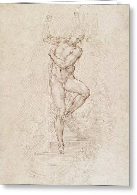 Naked Men Greeting Cards - W53r The Risen Christ study for the fresco of The Last Judgement in the Sistine Chapel Vatican Greeting Card by Michelangelo Buonarroti