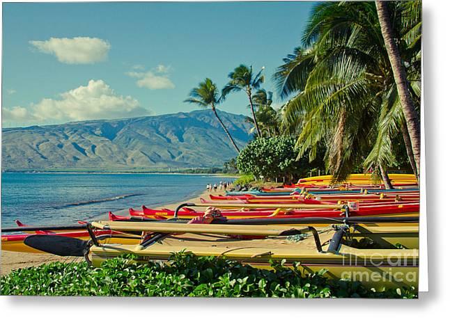 Honuaula Greeting Cards - Waa Kaulua O Kihei Maui Hawaii Greeting Card by Sharon Mau