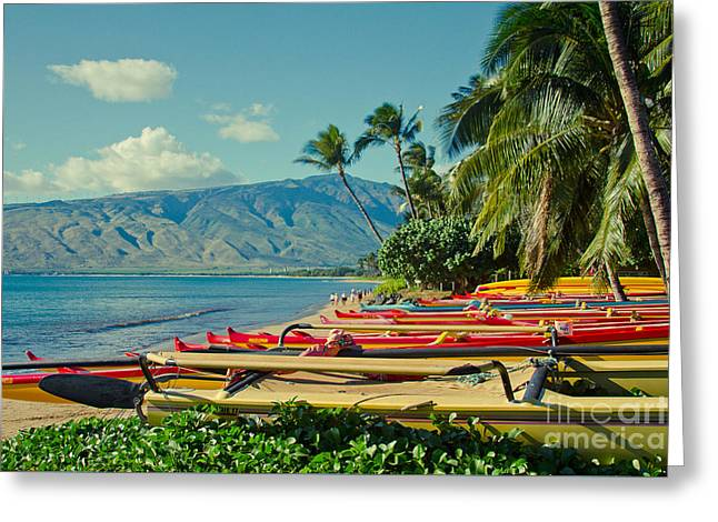 Honuaula Greeting Cards - Waa Kaulua O Kihei Maui Hawaii Greeting Card by Sharon Mau
