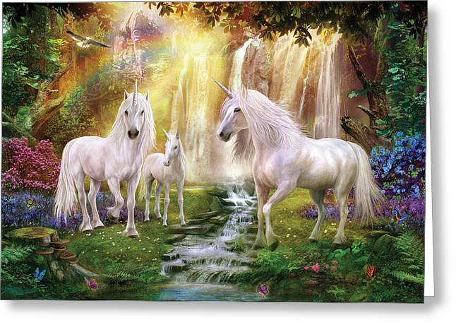 Mythical Landscape Greeting Cards - Waaterfall Glade Unicorns Greeting Card by Jan Patrik Krasny