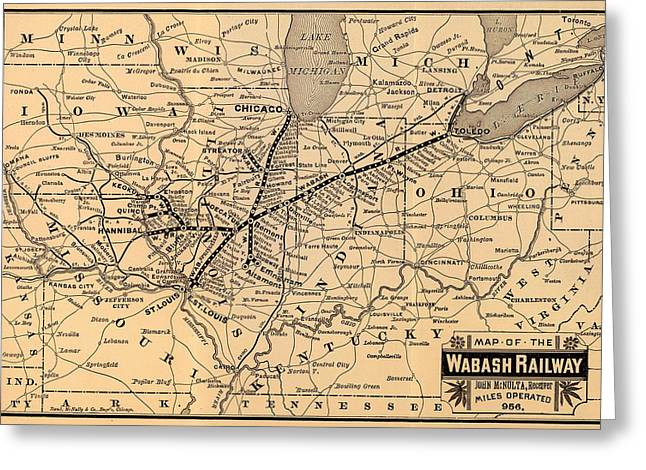 1880s Drawings Greeting Cards - Wabash Railway Map 1887 Greeting Card by Mountain Dreams