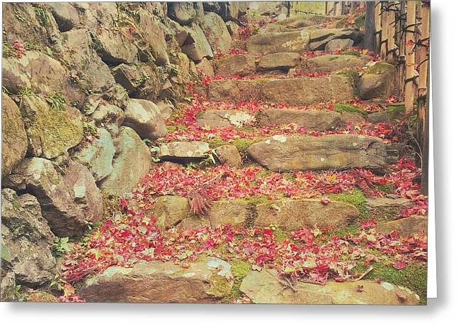 Bamboo Fence Greeting Cards - Wabi-sabi Rubble Masonry Bamboo Fence Fallen Leaves Greeting Card by Beverly Claire Kaiya