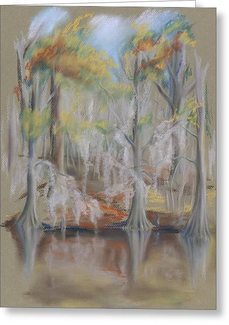 Moss Pastels Greeting Cards - Waccamaw River Impressions Greeting Card by MM Anderson