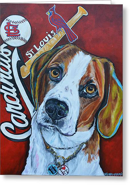 Baseball Paintings Greeting Cards - Wacha Greeting Card by Patti Schermerhorn