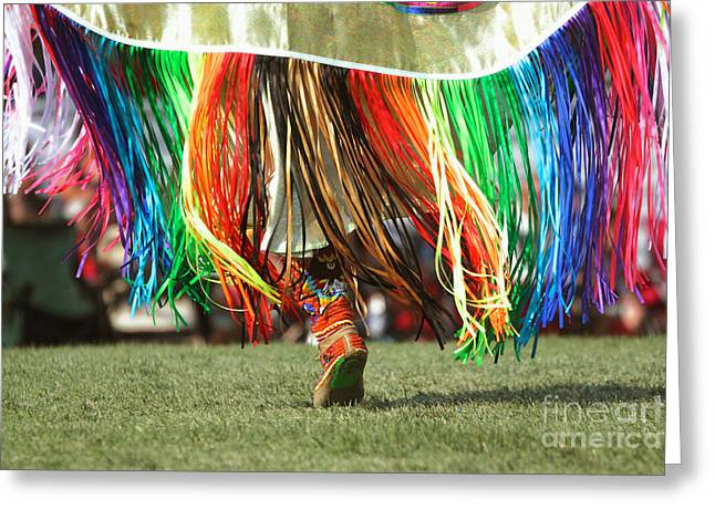Fancy-dancer Greeting Cards - Wacipi Fancy Dancer Greeting Card by Heidi Hermes