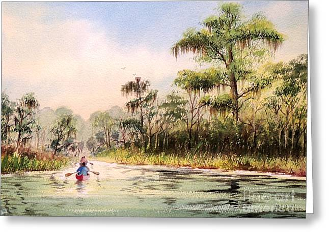 Canoe Greeting Cards - Wacissa River  Greeting Card by Bill Holkham