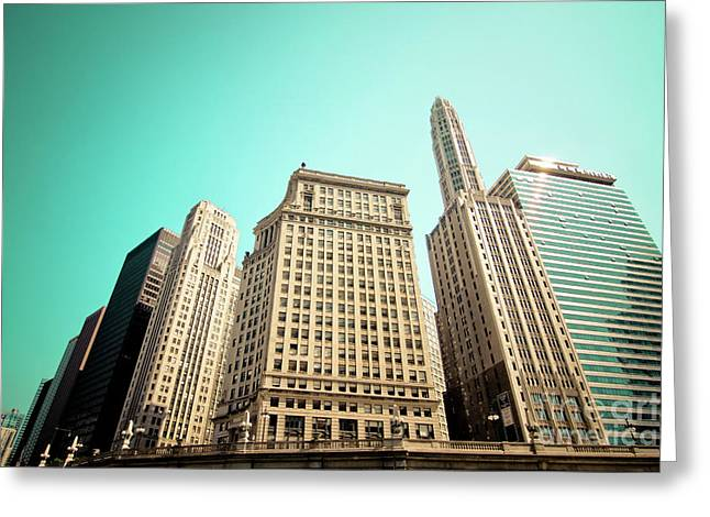 Linda Matlow Greeting Cards - Wacker and Michigan Avenue Chicago Greeting Card by Linda Matlow