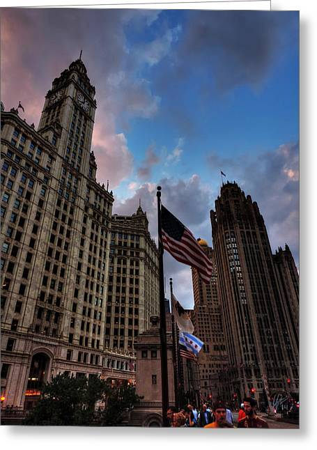Chicago Flag Greeting Cards - Wacker - Michigan Historic District of Chicago 001 Greeting Card by Lance Vaughn