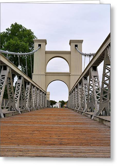 Wooden Greeting Cards - Waco Suspension Bridge Greeting Card by Christine Till
