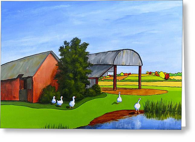 Mother Goose Paintings Greeting Cards - Waddle Pond Greeting Card by Jo Appleby