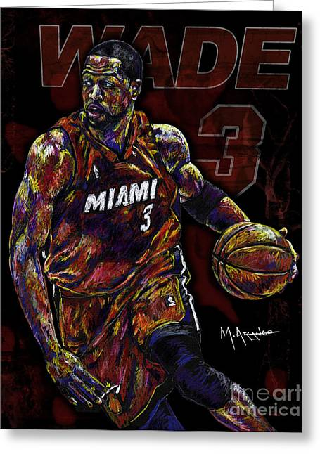 Miami Mixed Media Greeting Cards - Wade Greeting Card by Maria Arango