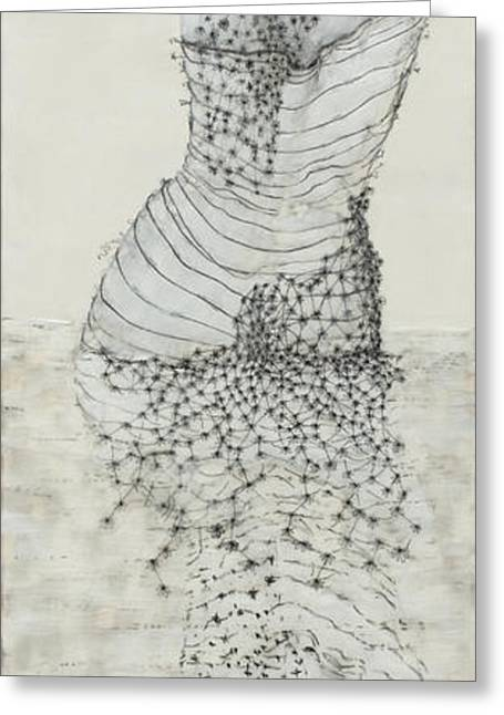 Pen And Ink Drawing Mixed Media Greeting Cards - Wader with Lotus Greeting Card by Andrea Benson