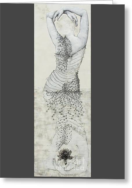 Ink Drawing Greeting Cards - Wader with Lotus Greeting Card by Andrea Benson