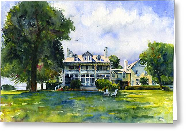 D Wade Greeting Cards - Wades Point Inn Greeting Card by John D Benson