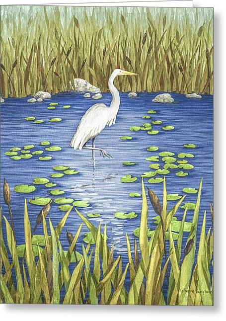 Wade Fishing Greeting Cards - Wading and Watching Greeting Card by Katherine Young-Beck