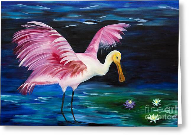 Rosette Paintings Greeting Cards - Wading Around Greeting Card by Christine Baeza