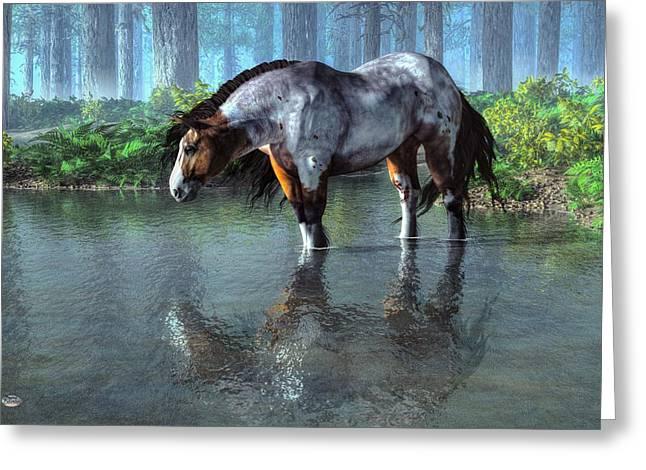Wade Fishing Greeting Cards - Wading Horse Greeting Card by Daniel Eskridge