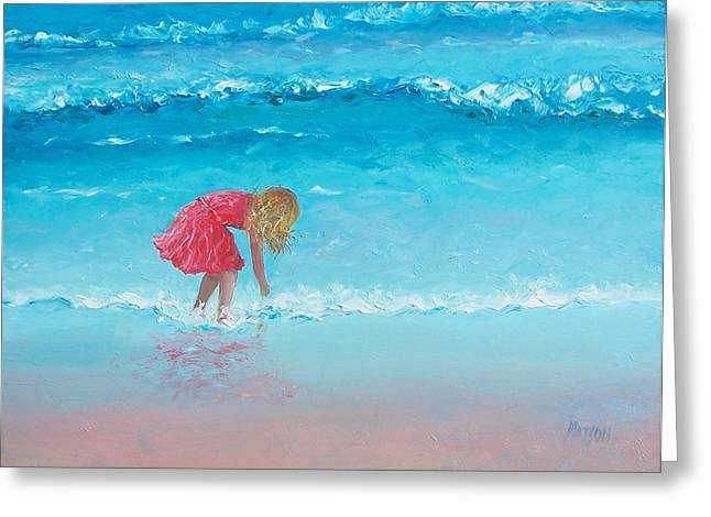 Ocean Art. Beach Decor Greeting Cards - Wading Greeting Card by Jan Matson