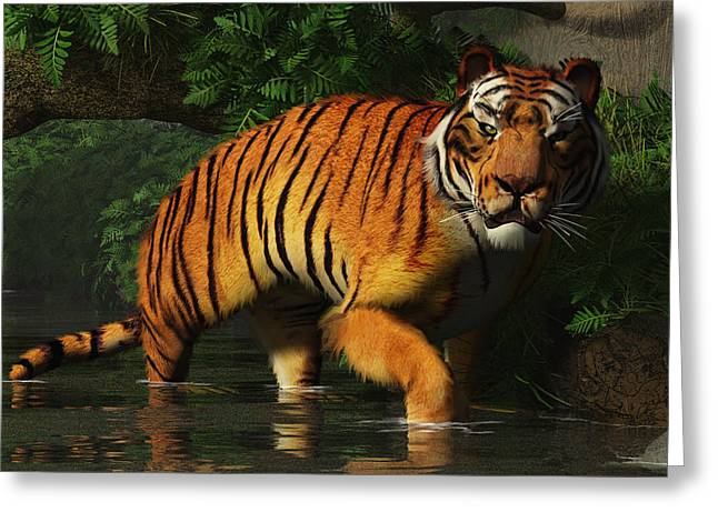 Stream Digital Art Greeting Cards - Wading Tiger Greeting Card by Daniel Eskridge