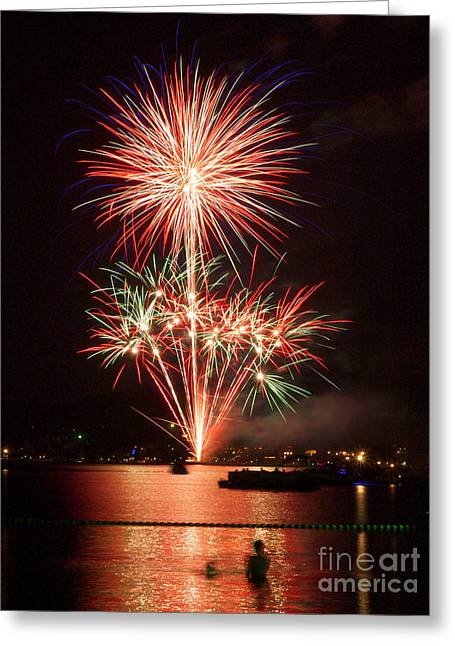 4th July Greeting Cards - Wading View of Fireworks Greeting Card by Mark Miller