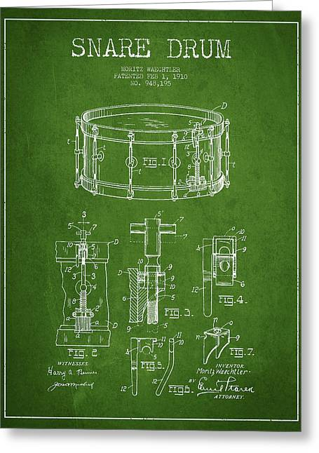 Snare Greeting Cards - Waechtler Snare Drum Patent Drawing from 1910 - Green Greeting Card by Aged Pixel