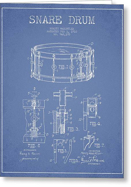Snare Greeting Cards - Waechtler Snare Drum Patent Drawing from 1910 - Light Blue Greeting Card by Aged Pixel