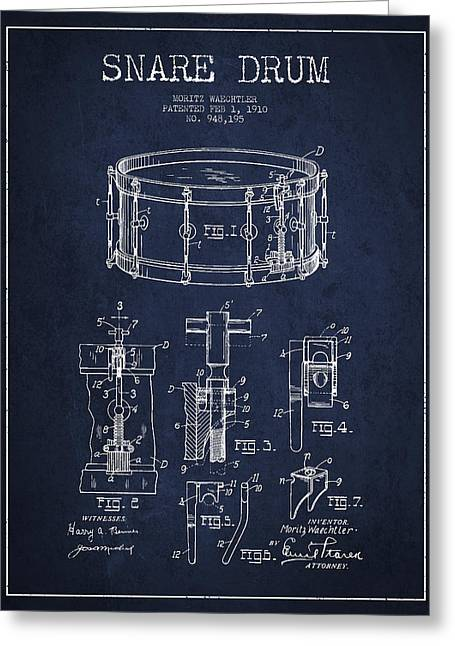 Snare Greeting Cards - Waechtler Snare Drum Patent Drawing from 1910 - Navy Blue Greeting Card by Aged Pixel