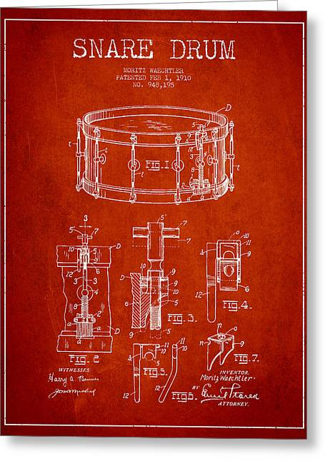 Snare Greeting Cards - Waechtler Snare Drum Patent Drawing from 1910 - Red Greeting Card by Aged Pixel