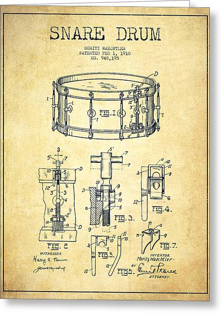 Drummer Greeting Cards - Waechtler Snare Drum Patent Drawing from 1910 - Vintage Greeting Card by Aged Pixel