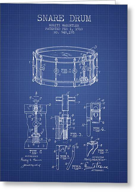 Snare Greeting Cards - Waechtler Snare Drum Patent from 1910 - Blueprint Greeting Card by Aged Pixel