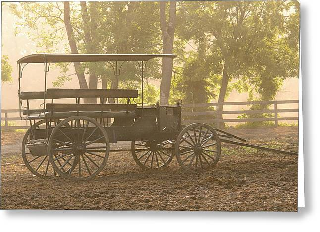 Amish Greeting Cards - Wagon - Abes Buggie Greeting Card by Mike Savad