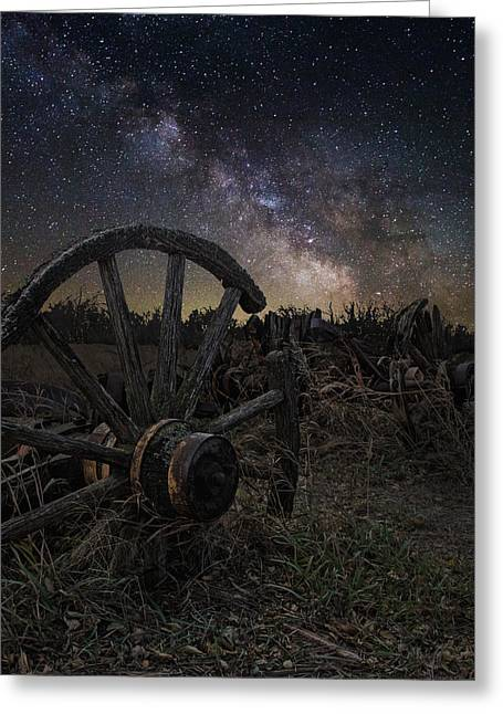 Dark Sky Greeting Cards - Wagon Decay Greeting Card by Aaron J Groen